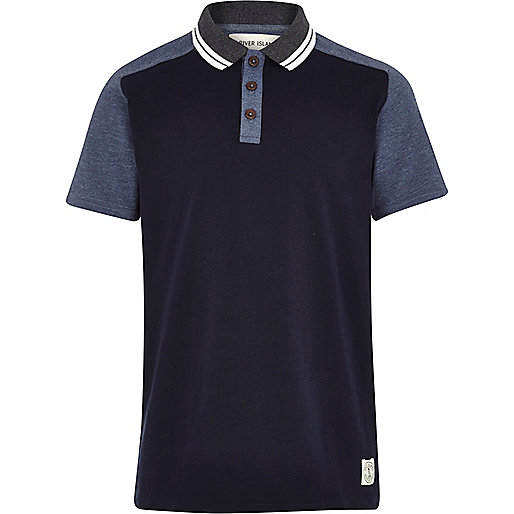 Boys blue and navy blocked polo shirt
