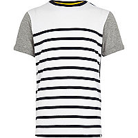 Boys navy stripe block t-shirt