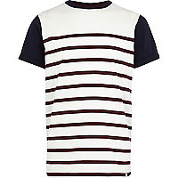 Boys red stripe block t-shirt