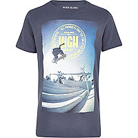 Boys navy short sleeved skater print t-shirt