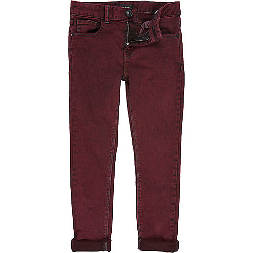 Boys red acid wash skinny jeans