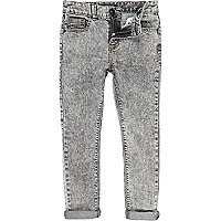 Boys grey acid wash skinny jeans