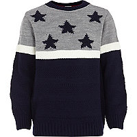 Boys grey blue stars and stripe jumper