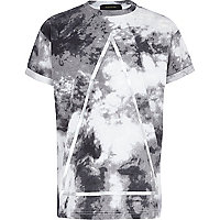 Boys grey tie dye triangle foil print t-shirt