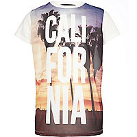 Boys white california mesh t-shirt