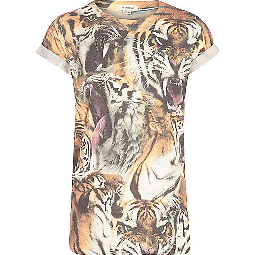 Boys beige tiger print t-shirt