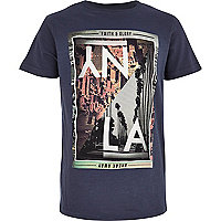 Boys navy NY and LA split print t-shirt