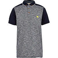 Boys navy flecked stripe polo shirt