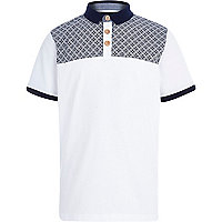 Boys white geo print polo shirt