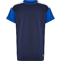 Boys blue oversized shoulder mesh t-shirt
