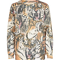 Boys beige tiger print sweatshirt