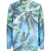 Boys blue palm tree long sleeve sweatshirt
