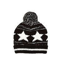 Boys black stars and stripes bobble hat