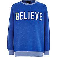 Boys blue speckled believe sweatshirt
