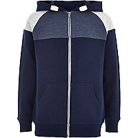 Boys navy colour block yoke hoody