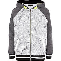 Boys white mesh panel hoody