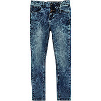 Boys blue acid wash skinny sid jeans