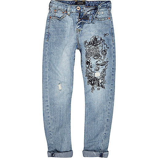 Boys bleach wash graffiti tapered slim jeans