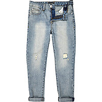 Boys light wash repair straight jeans