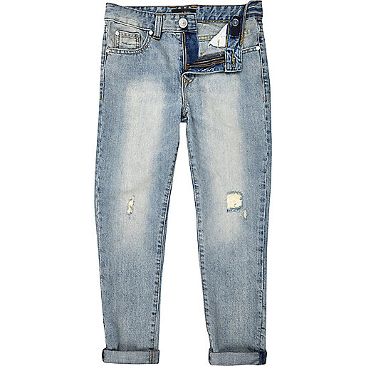 Boys light wash repair slim jeans