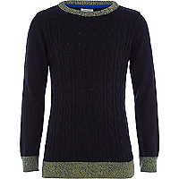 Boys navy fine knit cable jumper
