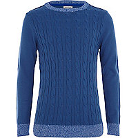 Blue Ls Fine Cable Knit Jumper