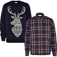 Boys navy stag jumper and check shirt set