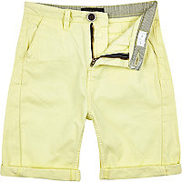 Boys yellow chino shorts
