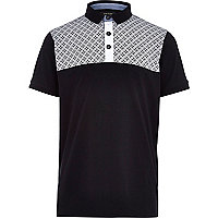 Boys black geo print polo shirt