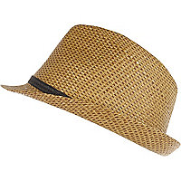 Boys beige straw trilby hat