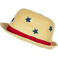 Boys beige star print straw trilby hat