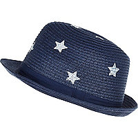Boys navy straw star print trilby hat