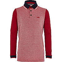 Boys red pique polo shirt