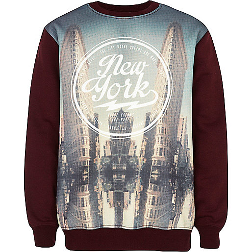 Boys dark red New York tower sweatshirt