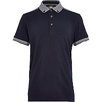 Boys navy yoke back polo shirt