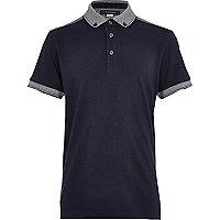 Boys navy yoke back polo shirt
