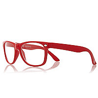 Boys red frame clear lens glasses