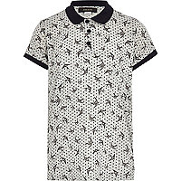 Boys grey swallow print polo