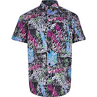 boys blue retro abstract print shirt