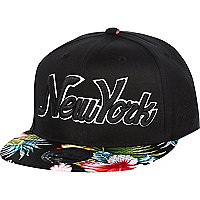 Boy black floral Hawaiian print snapback