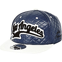 Boys blue quilted Los Angeles snapback hat