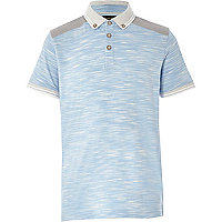 Boys light blue flecked polo shirt