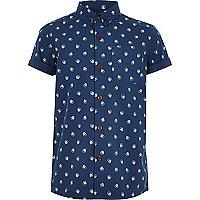Boys navy skull print shirt