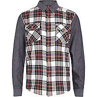 Boys cream tartan contrast sleeve shirt