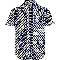 Boys navy spot shirt