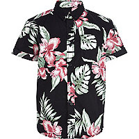 Boys black Hawaiian print shirt