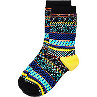 Boys bright stripe aztec animal print socks