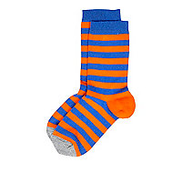 Boys orange and blue block stripe socks