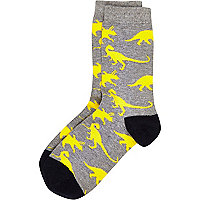 Boys grey and yellow dinosaur socks