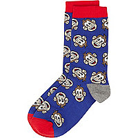 Boys blue monkey socks